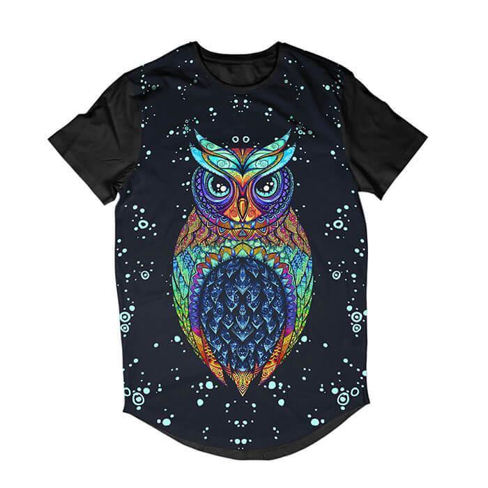 Camiseta Longline Coruja Owl Tribal