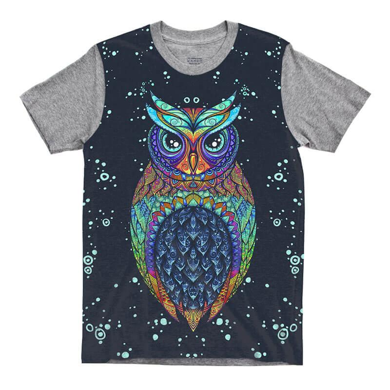 Camiseta Cinza Coruja Owl Tribal