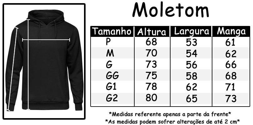 Tamanhos Blusa de Moletons