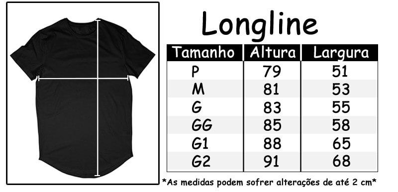 Tamanhos Camisetas longline