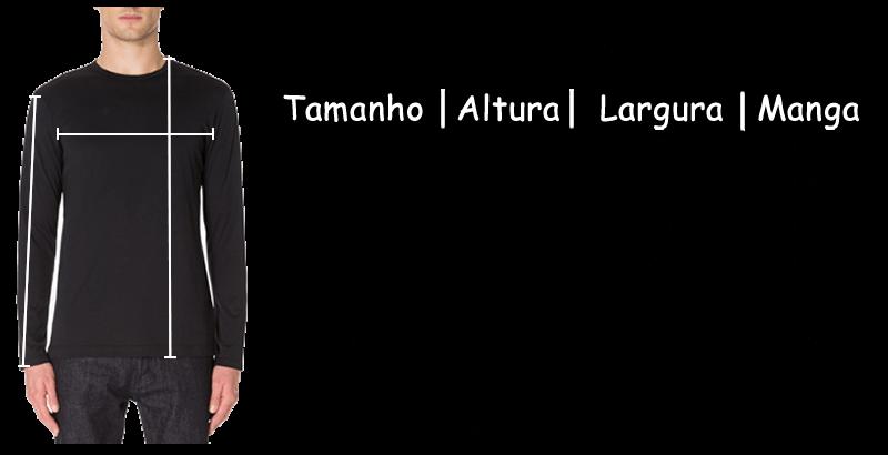 Tamanhos Camisetas Manga longa