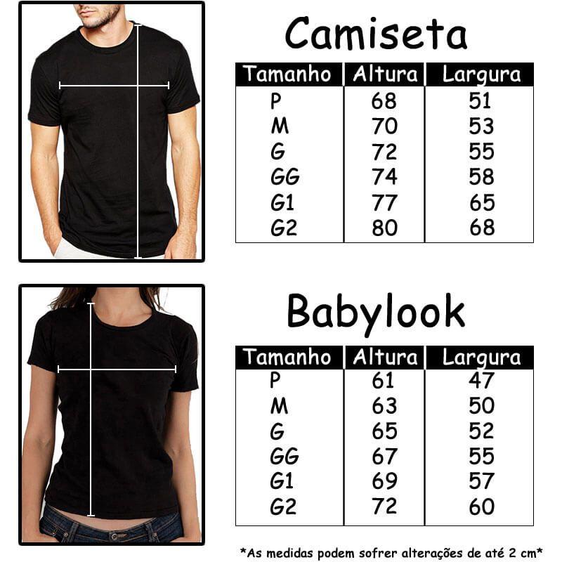Tamanhos Camisetas Estampa inteira