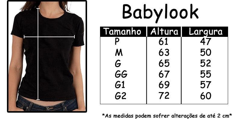 Tamanhos camisetas femininas